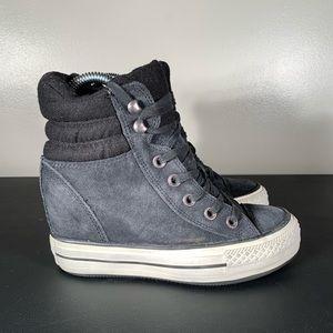 Converse High Top Wedge Black Suede Sneaker